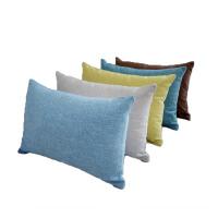 北欧简约纯色亚麻抱枕套不含芯办公室长方形腰枕沙发靠垫靠枕定做