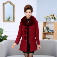 呢大衣女加厚中老年女装外套女2018新款冬季气质妈妈毛呢大衣40-50岁中长款秋装加棉