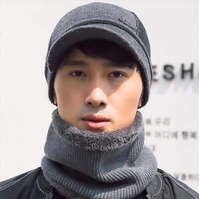 帽子男冬天青年韩版保暖加厚护耳鸭舌帽男毛线帽针织棉帽冬季户外