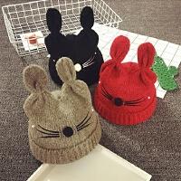 儿童毛线帽冬天保暖护耳帽毛绒针织吗男女宝宝帽子1-2岁套头帽潮