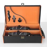 红酒盒子包装盒葡萄酒礼盒子双支装皮盒拉菲酒箱红酒盒 黑 双支带工具