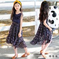 18夏季韩版女童连衣裙儿童长裙波西米亚沙滩裙雪纺中大童碎花裙子