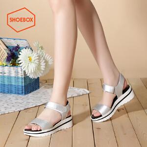 达芙妮旗下SHOEBOX/鞋柜夏款简约魔术贴休闲凉鞋女厚底坡跟女鞋