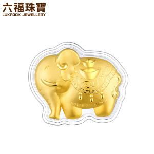 六福珠宝新年黄金压岁钱招财吸水象足金金章红包*定价HNA10021