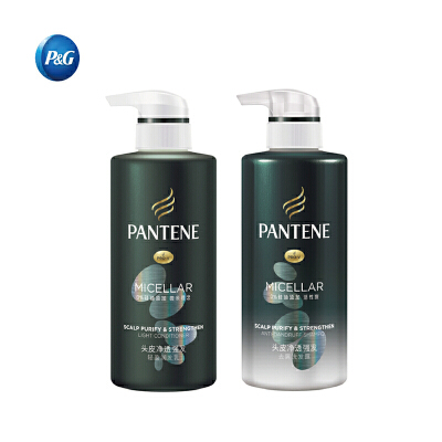 【宝洁】潘婷头皮净透强发洗护套装 洗发水300ML+护发素300ML