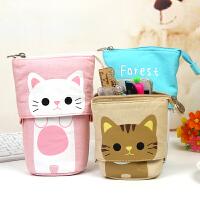 韩国笔袋简约男女生小清新可爱卡通帆布伸缩 大容量文具盒布笔袋