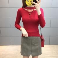 韩版秋冬毛衣女装性感打底毛衫空新款长袖毛针织衫女 均码