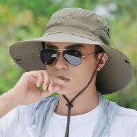 防晒帽男士帽子男韩版潮透气遮阳帽户外太阳帽小沿渔夫帽