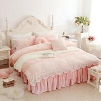 家纺韩式珊瑚绒天鹅绒四件套保暖加厚法莱绒公主蕾丝床裙婚庆床上用品