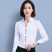 白衬衫女长袖秋冬新款职业装大码v领衬衣修身显瘦工作服工装