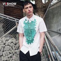 viishow夏装新款短袖衬衫 欧美印花短袖衬衫男 纯棉白衬衣潮