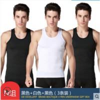 谢嘉儿三件装男士背心 黑色+黑色+白色 吊带内衣运动紧身跨栏健身修身型弹力夏季打底汗衫