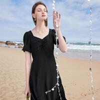 三彩2021夏季新款复古华丽女神范连衣裙女方领荷叶袖高腰小黑裙