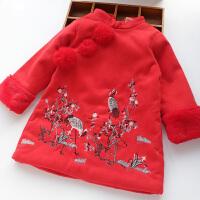 新年装女童旗袍唐装夹棉加厚2017冬装新款仙鹤中式改良汉服公主裙