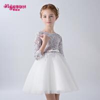 儿童蓬蓬纱裙花童礼服春夏 女童礼服韩版公主裙中大童长袖礼服裙