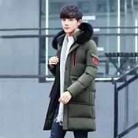 男士中长款外套加厚潮流青年韩版修身冬季帅气冬装棉袄羽绒棉服男