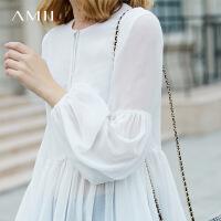 Amii极简欧货潮长袖雪纺衫女中长款2018春新款灯笼袖宽松套头上衣.