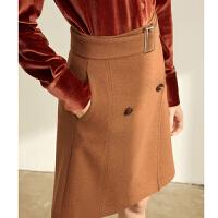 Amii极简气质网红复古半身裙冬季新款直筒高腰配腰带针织短裙