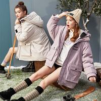【限时抢购】工装羽绒服女中长款时尚新款冬季厚外套女韩版宽松派克服