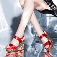 夏季新款真皮凉鞋女休闲鞋 舒适里外全皮高跟鞋坡跟防水台女鞋