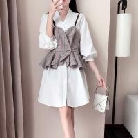 小香风两件套连衣裙女2018新款秋季时尚马甲套装中长款格子衬衫裙 白色