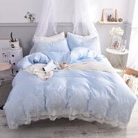 夏天床单四件套水洗床上用品夏季欧式冰丝夏凉丝滑裸睡被套 天蓝色 双面丝滑面料