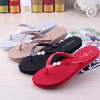 波西米亚平跟拖鞋女夏时尚外穿防滑坡跟夹脚人字拖海边度假沙滩鞋