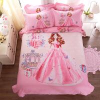 �和�床上用品四件套卡通女童孩公主�L被套床品三件套1.5