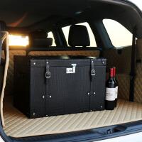 汽车后备箱整理车载储物箱子多功能尾箱杂物后背厢红酒收纳盒SUV 黑色 复古密码锁收纳箱