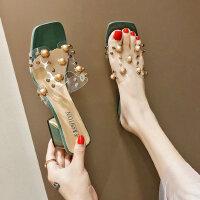 户外时尚拖鞋外穿女士韩版休闲中跟鞋舒适百搭女鞋