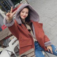 棉衣女冬装新款韩版羊羔毛外套宽松连帽bf棉袄学生潮 XF8660焦糖色