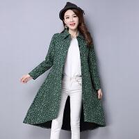 2017秋冬民族风女装棉麻大码中长款开衫复古碎花上衣加厚加绒外套