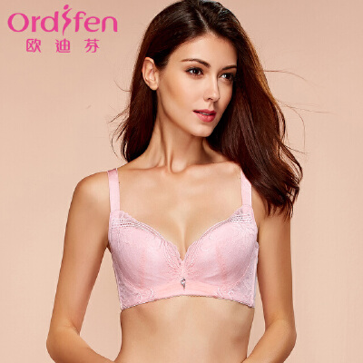 欧迪芬甜蜜时光新品女士内衣蕾丝美背聚拢文胸薄款收副乳XB6302收副乳文胸