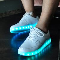 春夏季七彩发光鞋男夜光鞋女款学生荧光鞋LED鞋潮流USB充电灯光鞋 白色