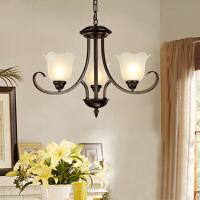 美式吊灯复古铁艺 欧式客厅地中海风格吊灯卧室餐厅仿古灯具MD09