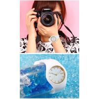 可爱果冻表女学生时尚韩版简约糖果色硅胶男女情侣手表一对黑白色对表