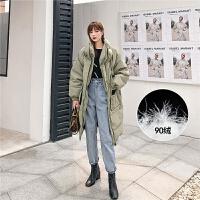 七格格羽绒服女中长款2019新款冬季白鸭绒韩版宽松时尚工装风外套