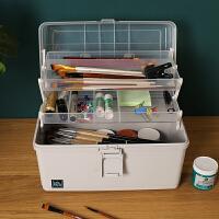 美术工具箱多功能小学生彩画笔颜料文具收纳盒三层画箱便携手提式