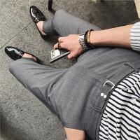 男士商务休闲裤青年修身九分裤韩版夏季薄款西裤英伦风金属扣裤子