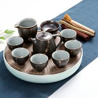 瓷神家用汝窑功夫茶具茶杯陶瓷干泡茶盘托套装日式简约小茶台茶海