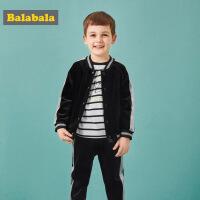 巴拉巴拉男童套装童装宝宝秋装新款儿童丝绒休闲运动装小童男