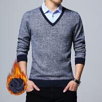 2017秋冬季青年男士修身衬衫领长袖加绒加厚毛衣保暖假两件针织衫