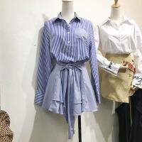韩国ulzzang2018春装新款Polo领条纹拼接收腰绑带连衣裙衬衫短裙