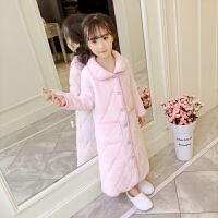 儿童浴袍珊瑚绒女童睡袍法兰绒秋冬季三层夹棉睡衣