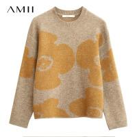 Amii�O��r尚撞色花朵提花�A�I毛衣女2020冬季新款��松外穿上衣