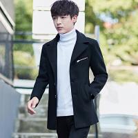 毛呢大衣男士呢子外套男呢大衣中长款风衣男青年韩版修身上衣加厚
