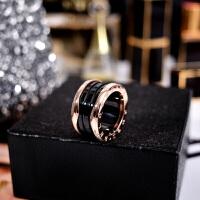 欧美黑色陶瓷网红戒指男女情侣款钛钢镀玫瑰金食指环戒子潮人饰品