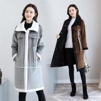鹿皮绒外套中长款2017新款修身加厚仿羊羔毛皮毛一体棉衣女