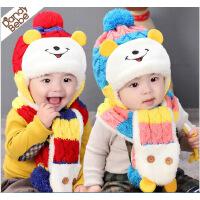 婴儿加绒加厚毛线帽冬季宝宝帽子6-12个月儿童帽子秋冬小孩套头帽