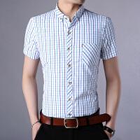 短袖衬衫男士格子商务休闲衬衣中青年夏季寸衫新品男装带真口袋潮